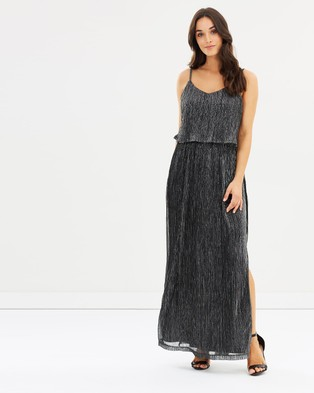 Oasis – Sparkle Foil Maxi Dress Black