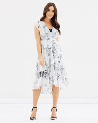 Decjuba – Mia Layered Ruffle Dress – Printed Dresses Grey Floral