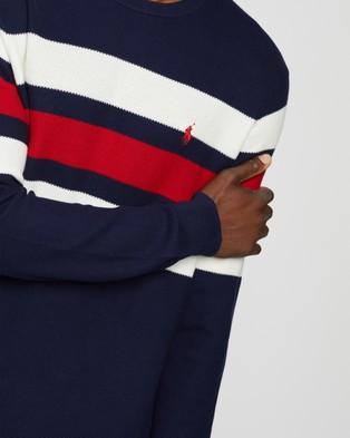 Polo Ralph Lauren Stripe Crew Neck Long Sleeve Sweater - Jumpers & Cardigans (Newport Navy, Polo Sport Red & White)