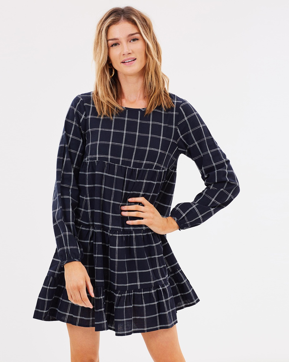 Atmos & Here ICONIC EXCLUSIVE Iris Smock Dress Printed Dresses Navy Check ICONIC EXCLUSIVE Iris Smock Dress