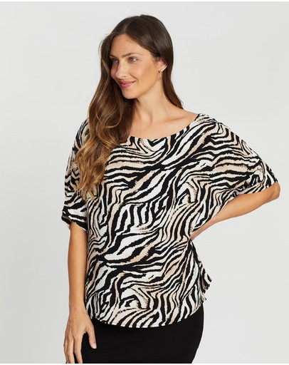 Angel Maternity Relax Fit Short Sleeve Top Animal Print