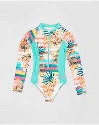Bluesalt Beachwear - Sunset Long Sleeve Surf Tank One-Piece Swimsuit - Kids