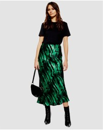 TOPSHOP - Tiger Print Satin Bias Midi Skirt