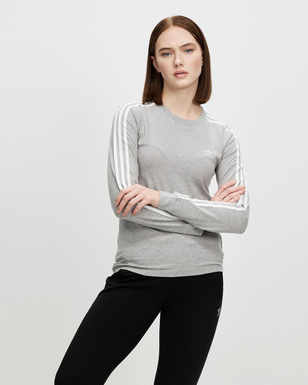 adidas Originals 3 Stripes Long Sleeve T-Shirts Medium Grey Heather 3-Stripes