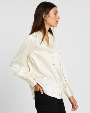 Dazie - French Girl Silky Shirt Tops (Champagne)