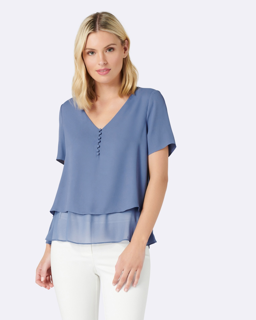 Forever New Aria Self Covered Button Essential Tops Blue Aria Self Covered Button Essential