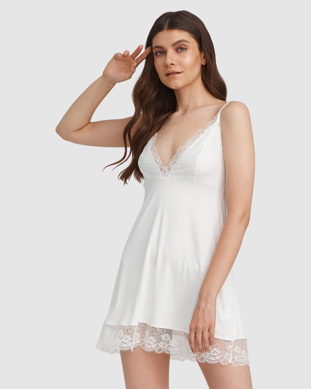 Oh!Zuza Lace Detail Chemise Sleepwear Ivory Australia