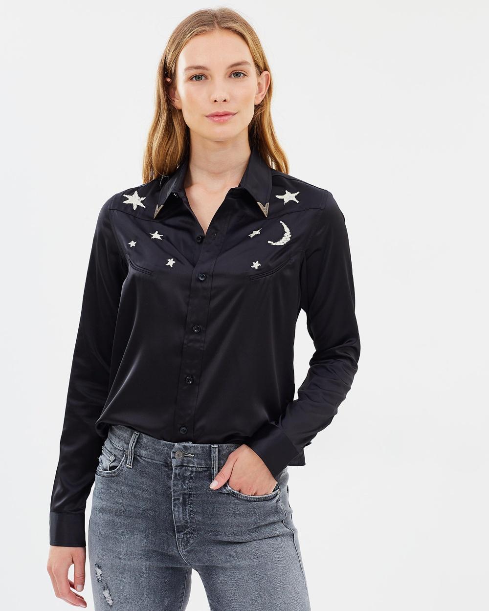 Mother Denim Goin' To California Shirt Tops Black Goin' To California Shirt