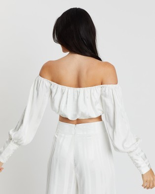 KIANNA Catherine Striped Blouse - Cropped tops (Ivory)