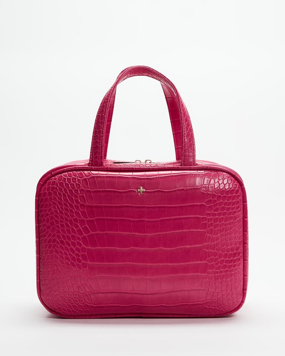 PETA AND JAIN Sutton Cosmetic Holdall Bags & Tools Fuchsia Croc