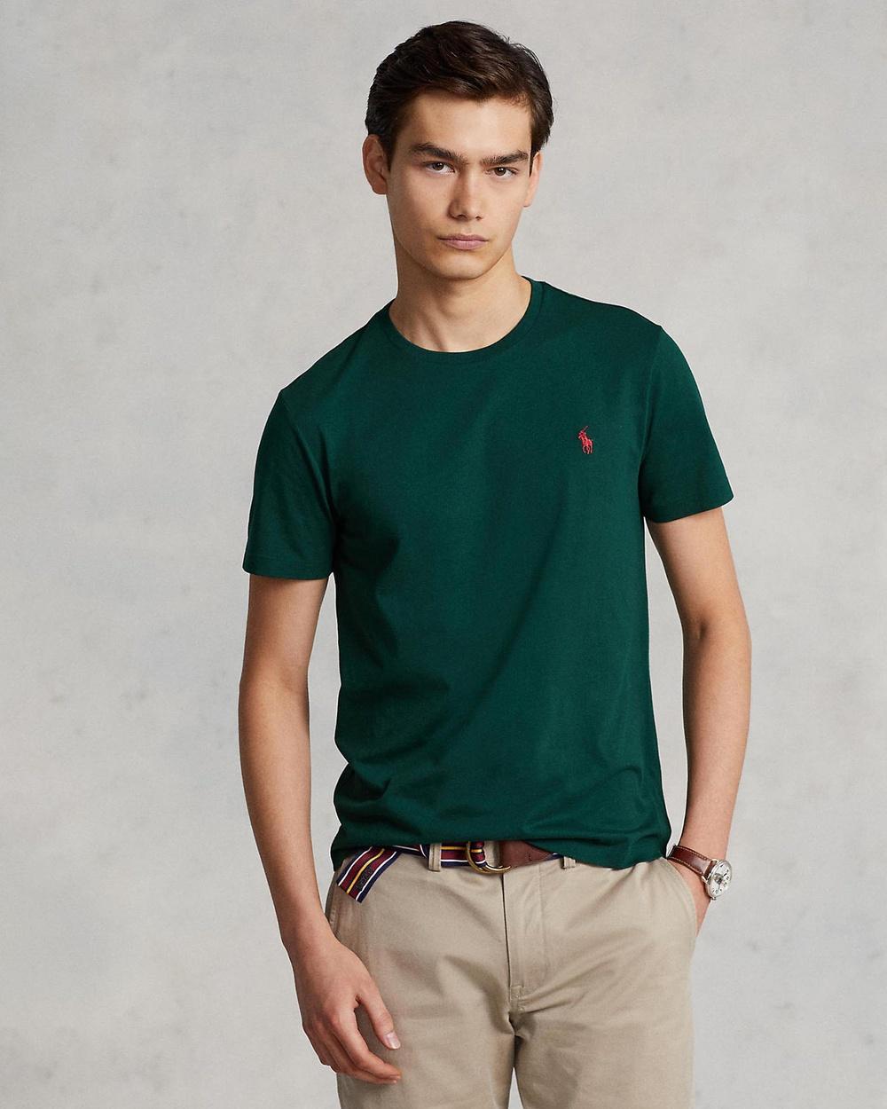 Polo Ralph Lauren - ICONIC EXCLUSIVE   Custom Slim Fit Short Sleeve T Shirt - T-Shirts & Singlets (College Green) ICONIC EXCLUSIVE - Custom Slim Fit Short Sleeve T-Shirt