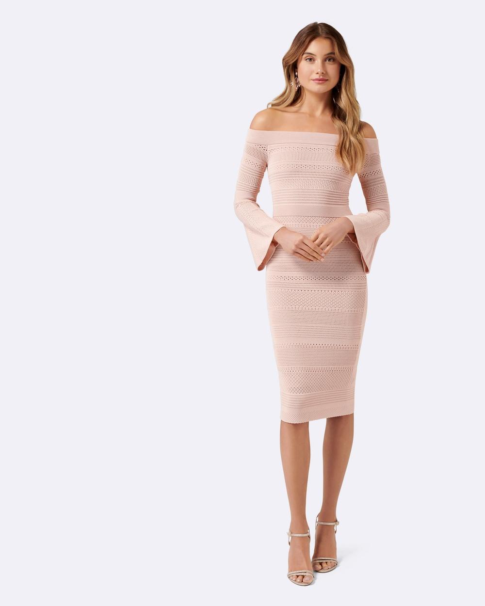 Forever New Stassi Pointelle Flare Sleeve Dress Dresses Pink Stassi Pointelle Flare Sleeve Dress