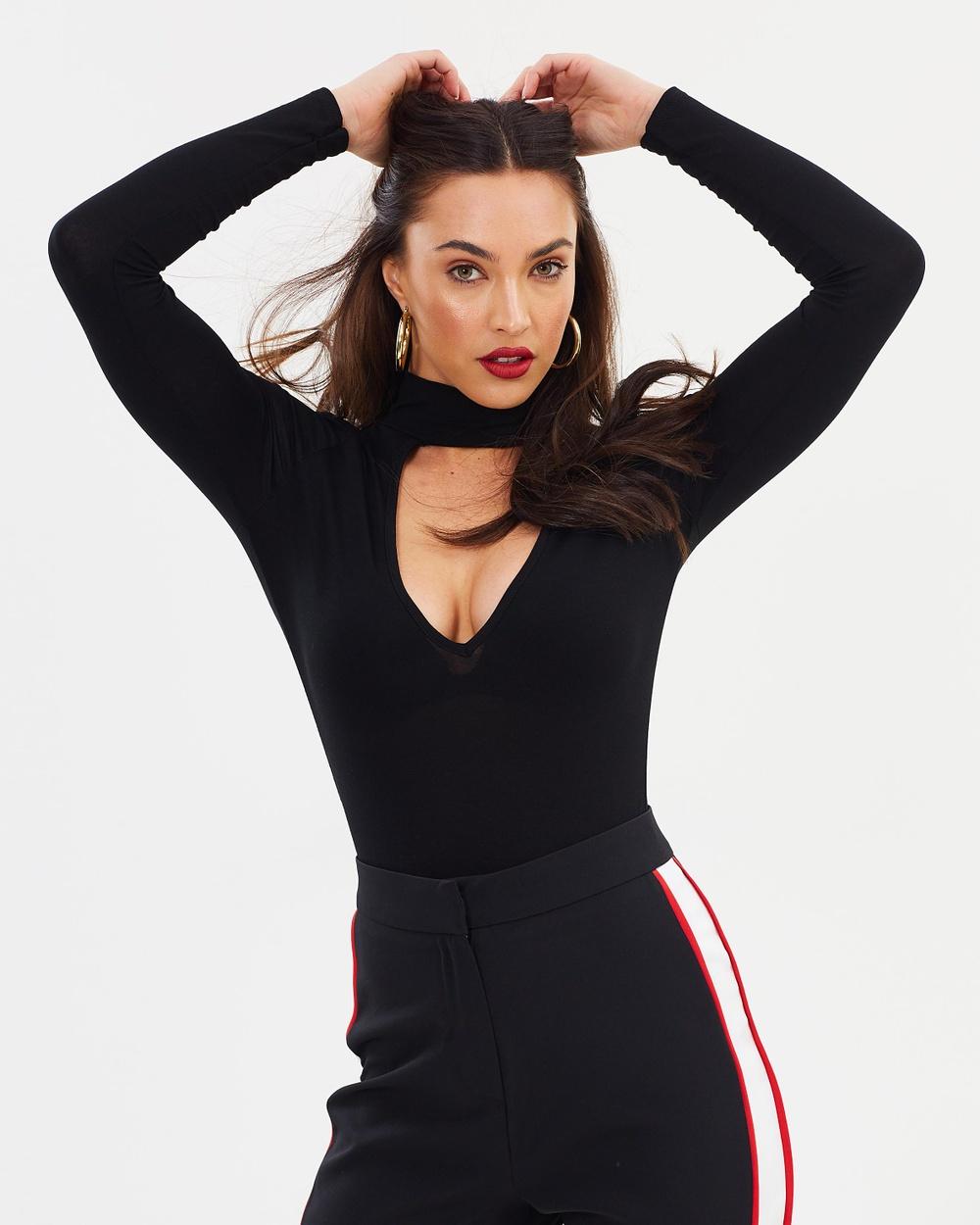 Missguided Choker Plunge Bodysuit Tops Black Choker Plunge Bodysuit