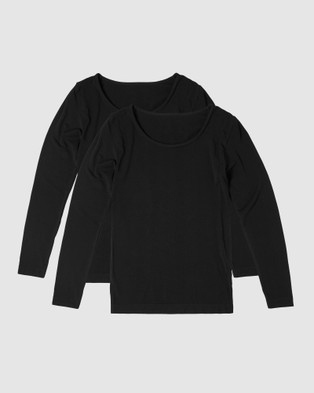 Boody Organic Bamboo Eco Wear - 2 Pack Long Sleeve Top Tops (Black)