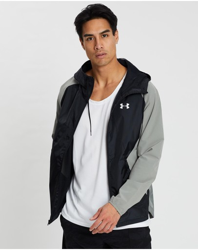 Under Armour Stretch-woven Hooded Jacket Gravity Green Black & Onyx White