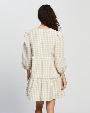 AERE Linen Smock Dress - Dresses (Neutral Light Check)