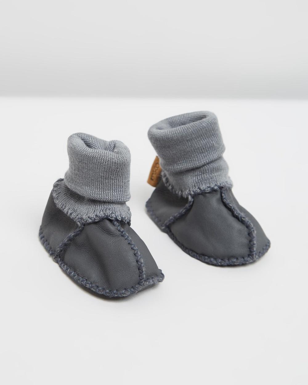 Kip&Co Sheepskin Booties Socks Dark Grey