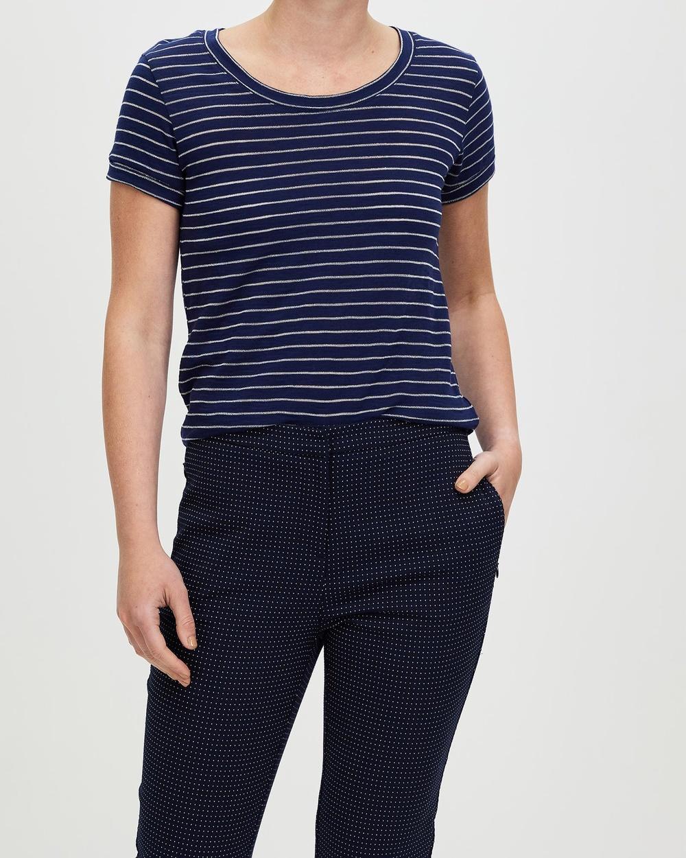 Marcs Shimmer Stripe Tee T-Shirts & Singlets Navy Australia
