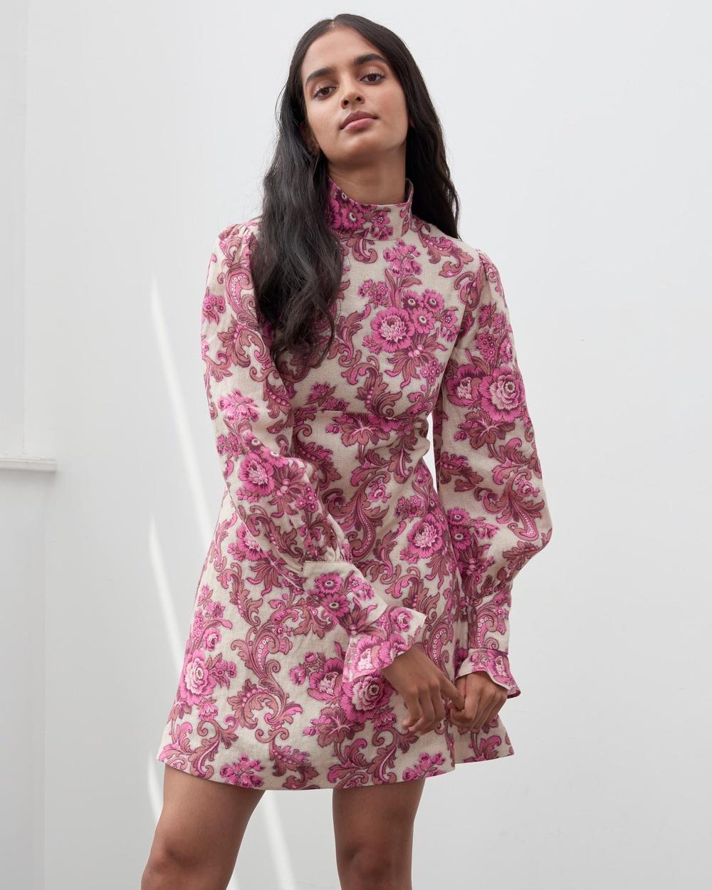 Alemais Isla Mini Dress Printed Dresses Magenta