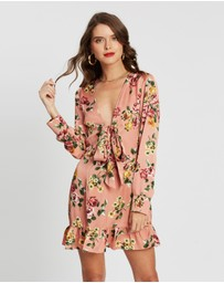 Missguided Petite - Floral Tie Front Skater Dress