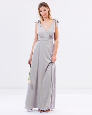 Atmos & Here – Amelie V Neck Maxi Dress – Bridesmaid Dresses Earl Grey