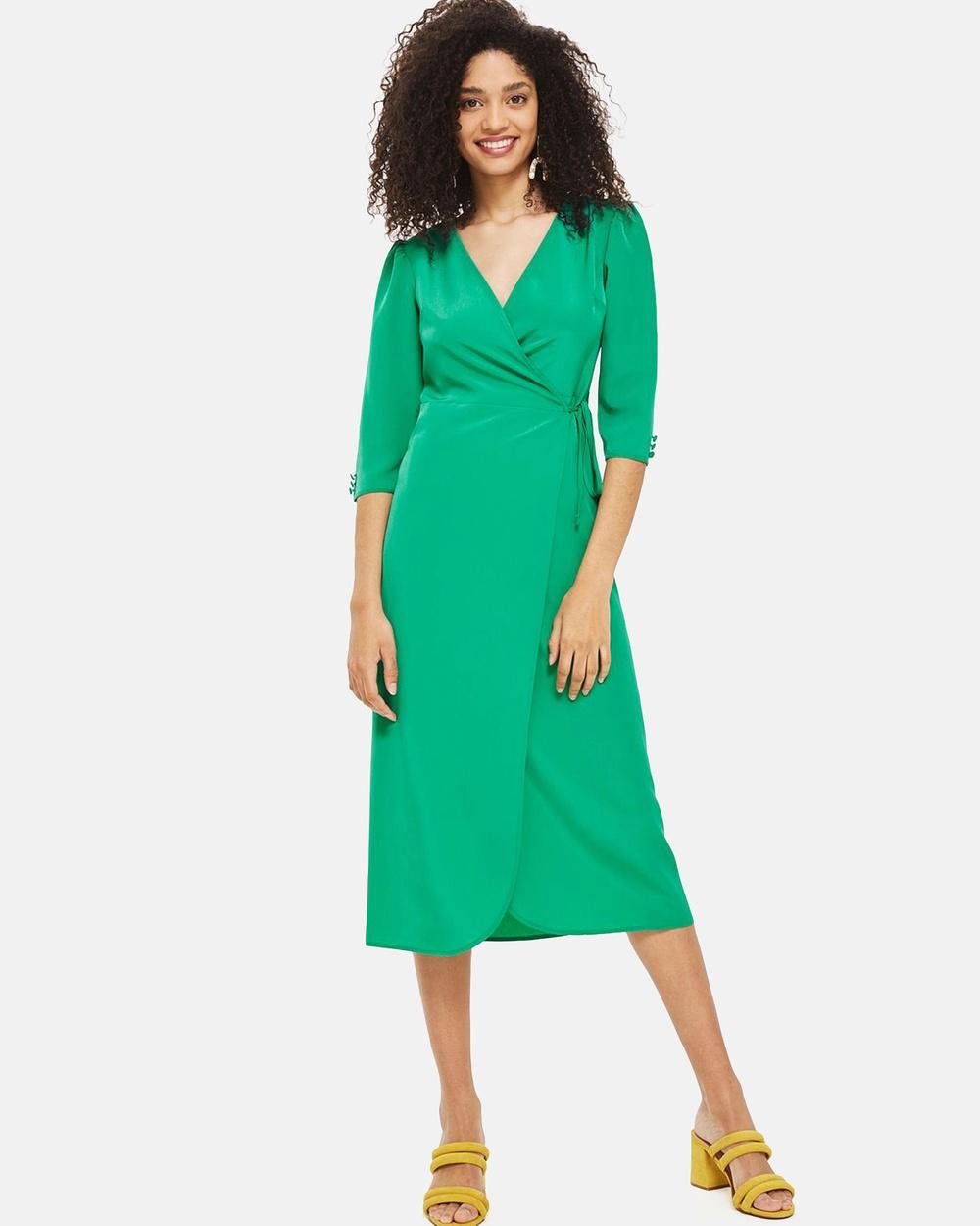 TOPSHOP Crepe Wrap Midi Dress Dresses Bright Green Crepe Wrap Midi Dress