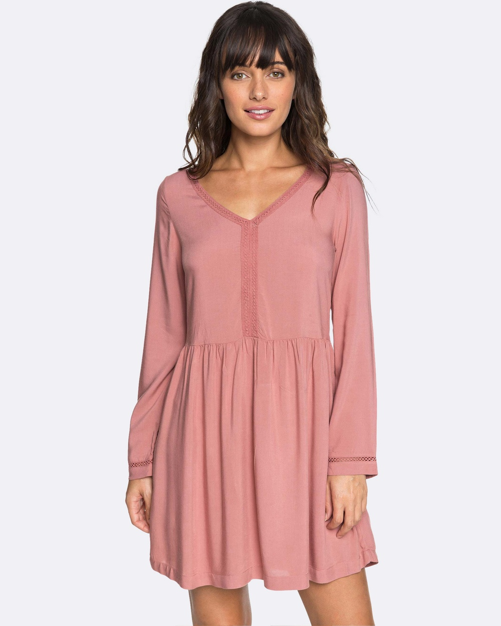 Roxy Womens Feel Alone Long Sleeved Dress Swimwear WITHERED ROSE Womens Feel Alone Long Sleeved Dress