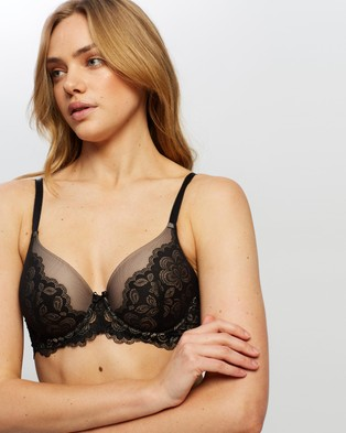 Bendon Veiled Lace Full Coverage Contour Bra - Underwire Bras (Black & Latte)