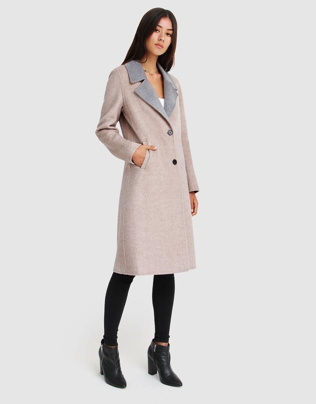 Women Lexington Two-Tone Wool Blend Coat