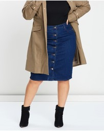 Lost Ink Plus - Button-Through Denim Pencil Skirt