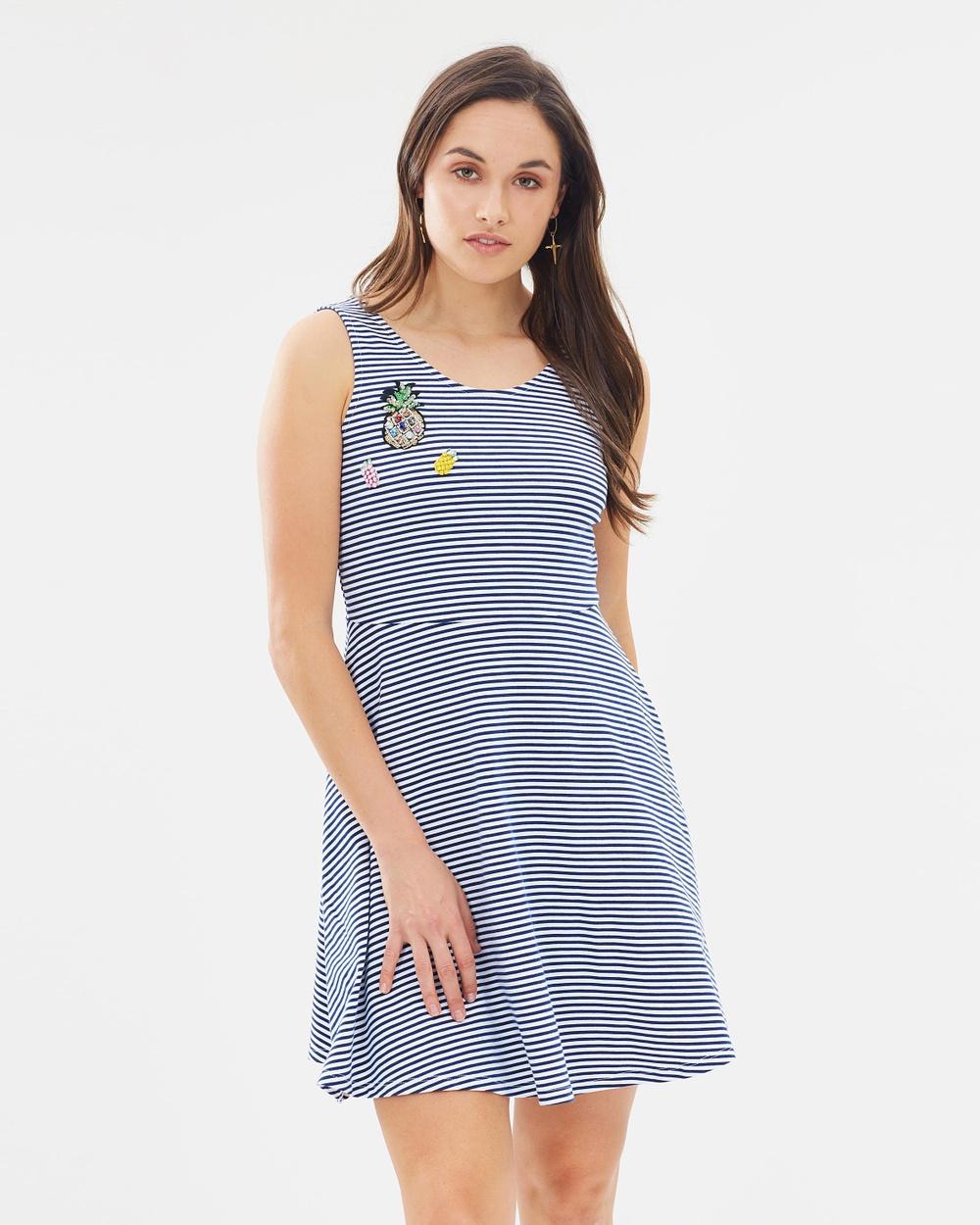 Dorothy Perkins Stripe Badge Dress Dresses Navy & White Stripe Badge Dress