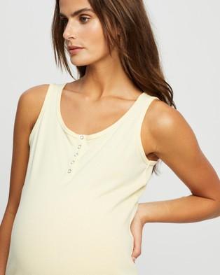 Cotton On Maternity Maternity Henley Sleeveless Tank - Maternity Singlets (Lemon)