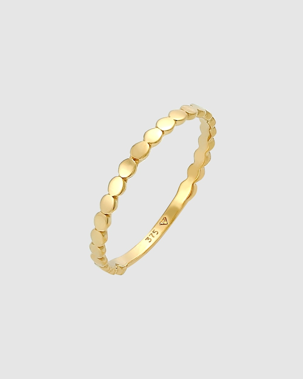 Elli Jewelry Ring Plate Round Stacking Geo Basic in 375 Yellow Gold Jewellery Gold