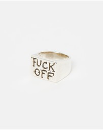 Heart of Bone - Fuck Off Rectangular Signet Ring