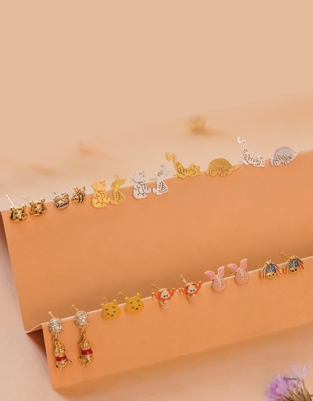Women Disney Earring Pooh and Piglet Silver