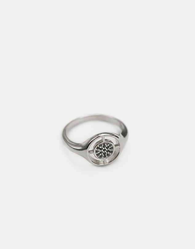 Women Compass Ring Silver with Black