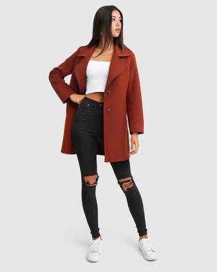 Belle & Bloom Ex Boyfriend Wool Blend Oversized Coat - Coats & Jackets (Red)