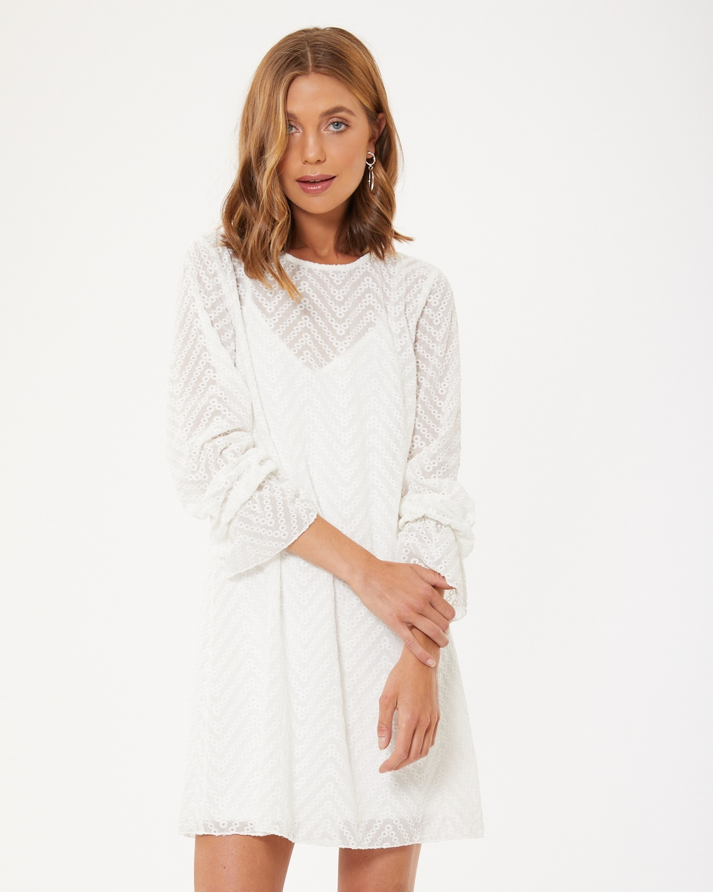 Calli Averie Embroidery Dress Dresses White Averie Embroidery Dress