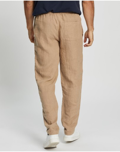 Aere Linen Pull-on Pants Sand