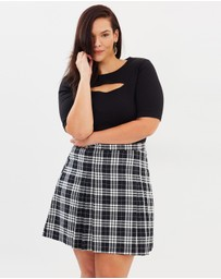Atmos&Here Curvy - Stephanie Pleated Check Skirt