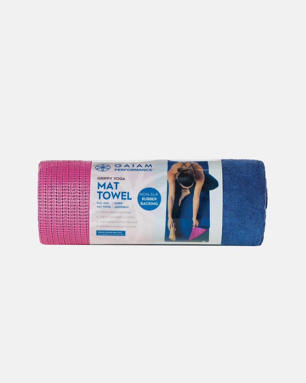 Gaiam Performance Grippy Yoga Mat Towel Accessories Blue