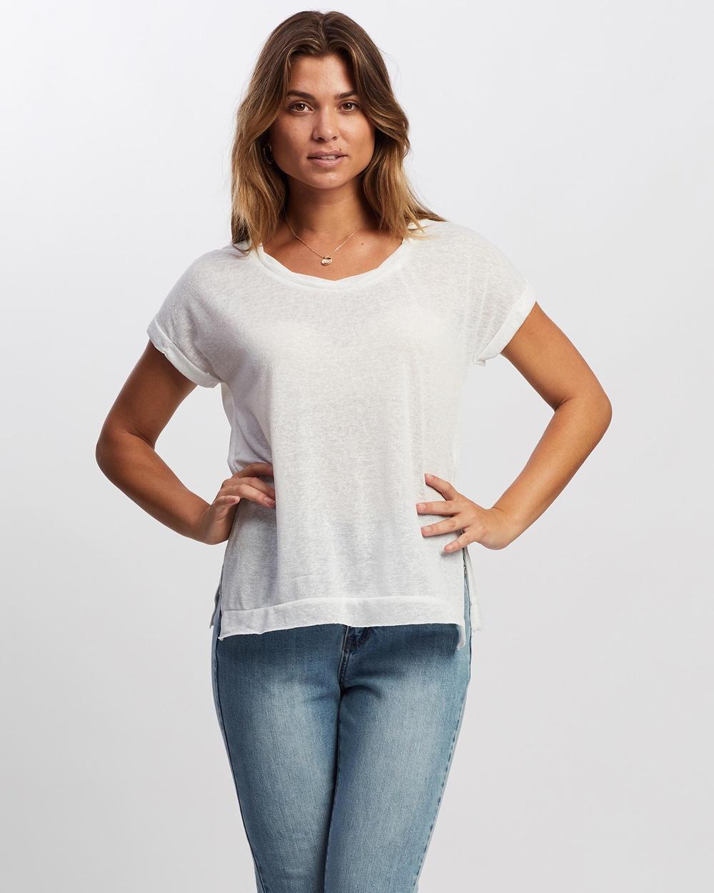 Atmos&Here - Ariel Twist Neck T Shirt - T-Shirts & Singlets (White) Ariel Twist Neck T-Shirt