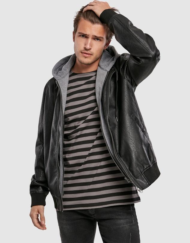 Men UC Fleece Hooded Fake Leather Jacket