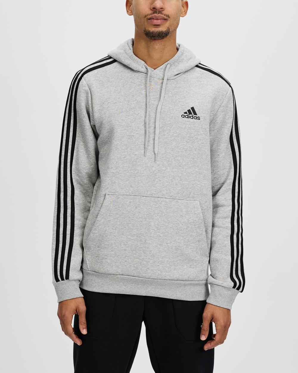 adidas Performance Essentials 3 Stripes Fleece Hoodie Hoodies Medium Grey Heather & Black 3-Stripes