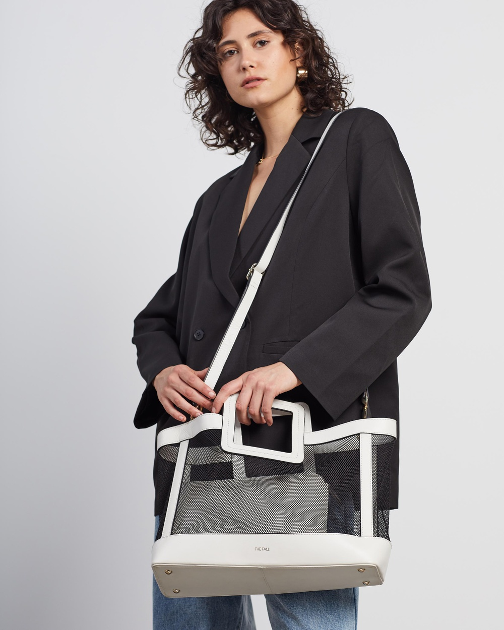 Fall The Label Mesh White Tote with Pouch Insert Bags White