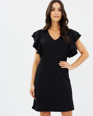 Dorothy Perkins – Ruffle Sleeve Shift Dress Black