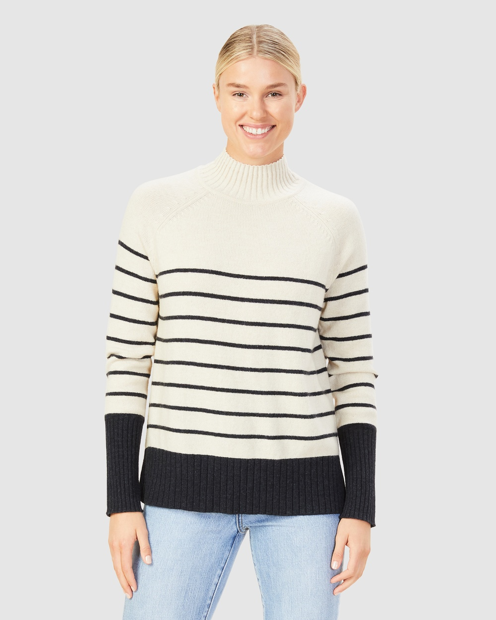 French Connection Cosy Stripe Knit Jumpers & Cardigans ECRU/NAVY Australia