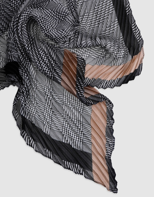 Women Houndstooth Pleated Scarf