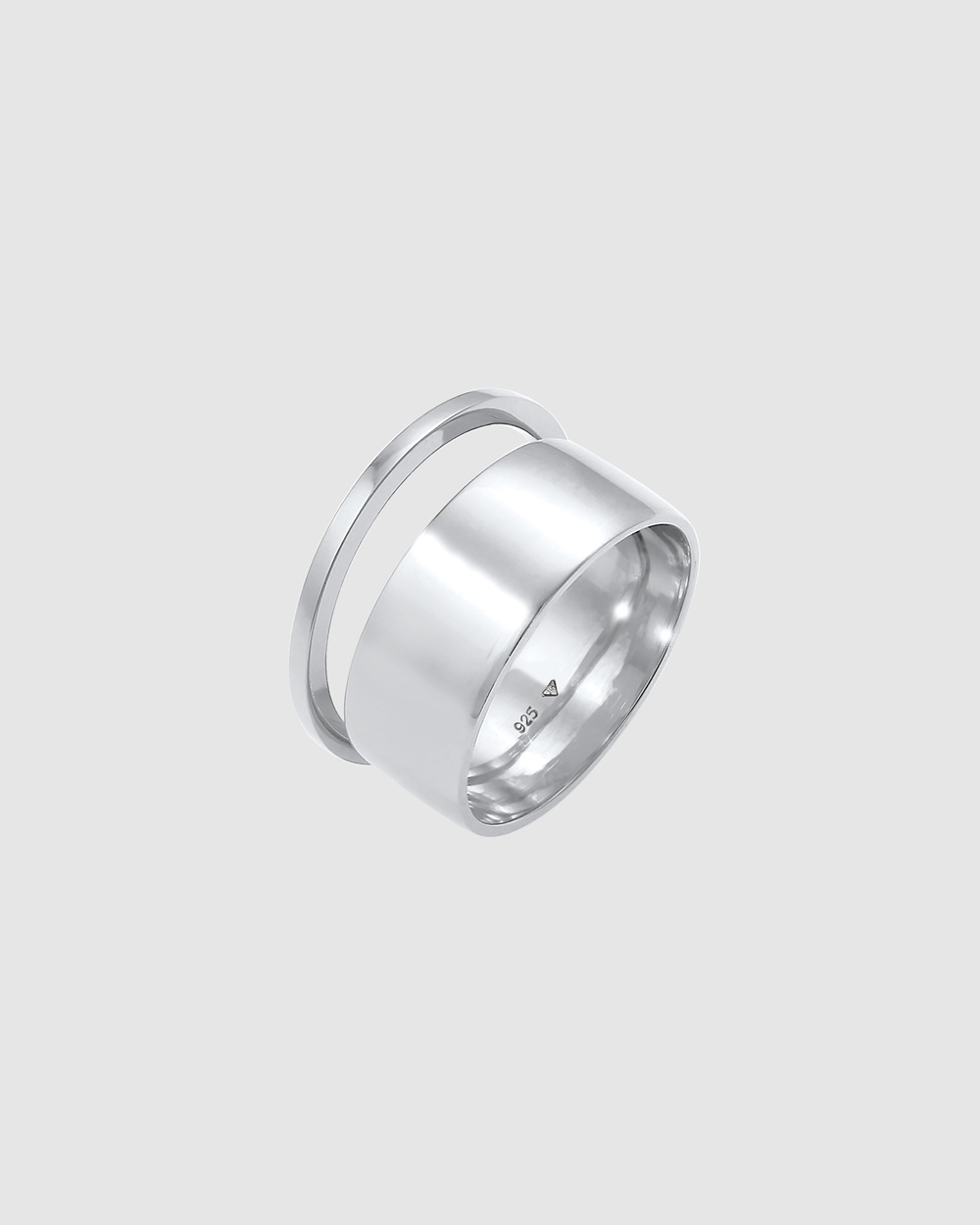 Elli Jewelry Ring Bandring Stacking Wide Narrow Set of 2 in 925 Sterling Silver Jewellery Silver
