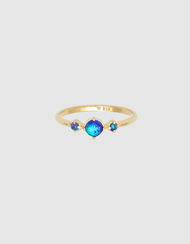 Women Ring Blue Sparkling Vintage with Synthetic Opal in 925 Sterling Silver Gold Plated